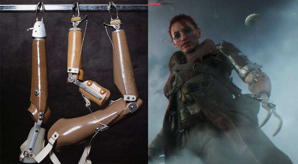 Battlefield V: prótese usada na Segunda Guerra Mundial no braço de uma mulher personagem do jogo.
