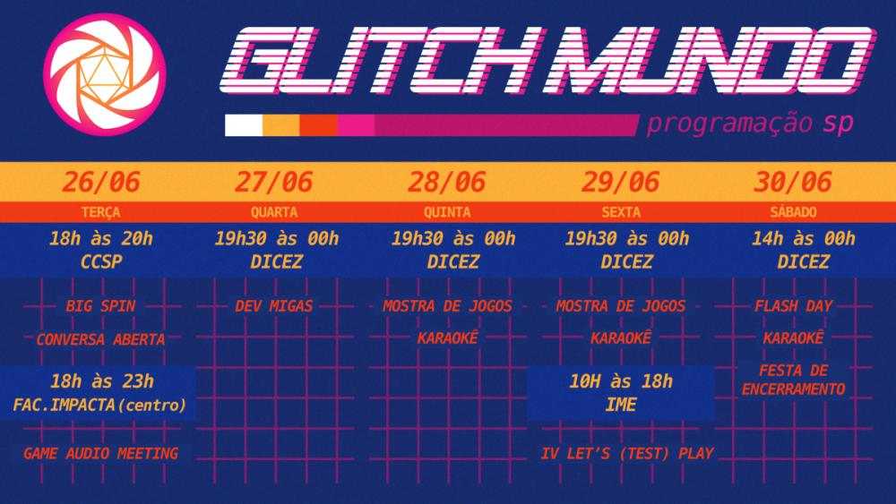 Programação da primeira edição do Glitch Mundo, com sede na célula de São Paulo/SP. Sujeita a mudanças.
